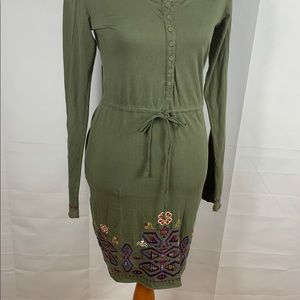 Johnny WAS embroidered boho olive green dress
